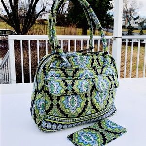 Vera Bradley paisley blue green hand bag wallet